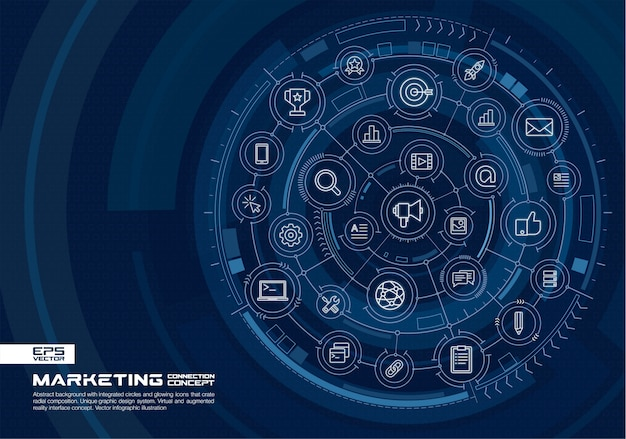 抽象的な技術の背景。デジタル接続システム、統合された円、光る細い線のアイコン。仮想の拡張現実インターフェースのコンセプト。将来のインフォグラフィックイラスト