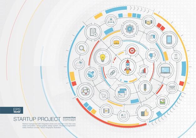 Абстрактный фон путешествия. система цифрового подключения со встроенными кругами, цветными значками. радиальный графический интерфейс. концепция будущего инфографическая иллюстрация