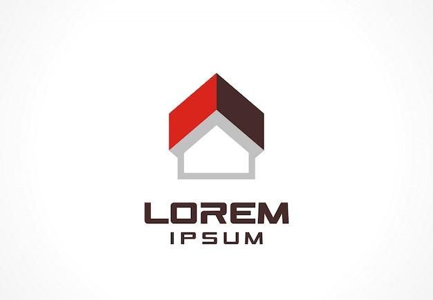 アイコン要素。事業会社のロゴ。建設、家、上向き矢印、建物、技術の概念。コーポレートアイデンティティテンプレートのピクトグラム。ストックイラスト
