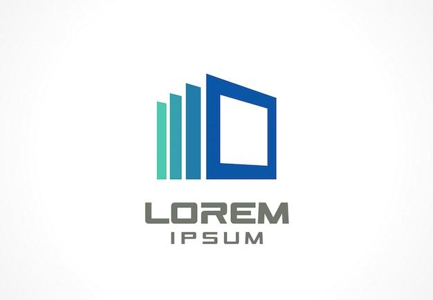 アイコン要素。事業会社の抽象的なロゴのアイデア。建設、家、フレーム、窓、技術、インターネットの概念。コーポレートアイデンティティテンプレートのピクトグラム。ストックイラスト