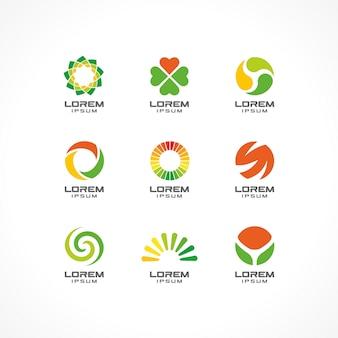 アイコン要素のセットです。事業会社のための抽象的なロゴのアイデア。エコ、ヘルスケア、スパ、化粧品、医療のコンセプト。コーポレートアイデンティティテンプレートのピクトグラム。ストックイラスト
