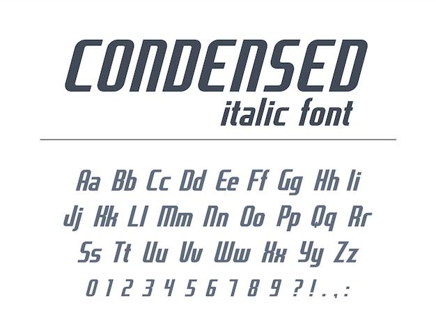 Универсальный шрифт для делового текста заголовка. сжатый, узкий, курсив алфавит. динамичный стиль типографии. скоростная гонка, спорт, геометрический логотип. современная афиша, буквы, цифры