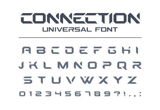 テクノロジーは、ユニバーサルフォントを接続します。幾何学的で攻撃的なスポーツ、未来的な未来のテクノアルファベット。軍事、電気業界のロゴの文字と数字。モダンなミニマルな書体