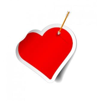 Стрелка на наклейке сердце. иллюстрация на белом фоне.