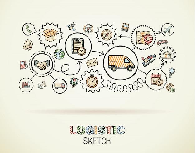 ロジスティックの手は、紙に設定された統合アイコンを描画します。カラフルなスケッチインフォグラフィックイラスト。接続された落書きカラーピクトグラム、配布、配送、輸送、サービスのインタラクティブなコンセプト