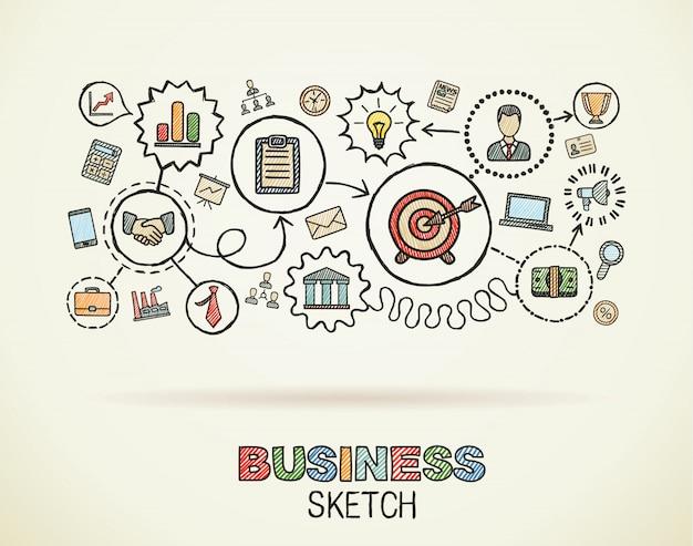 ビジネス手は、統合されたアイコンセットを描画します。カラフルなスケッチインフォグラフィックイラスト。紙、戦略、使命、サービス、分析、マーケティング、インタラクティブな概念に接続された落書き絵文字
