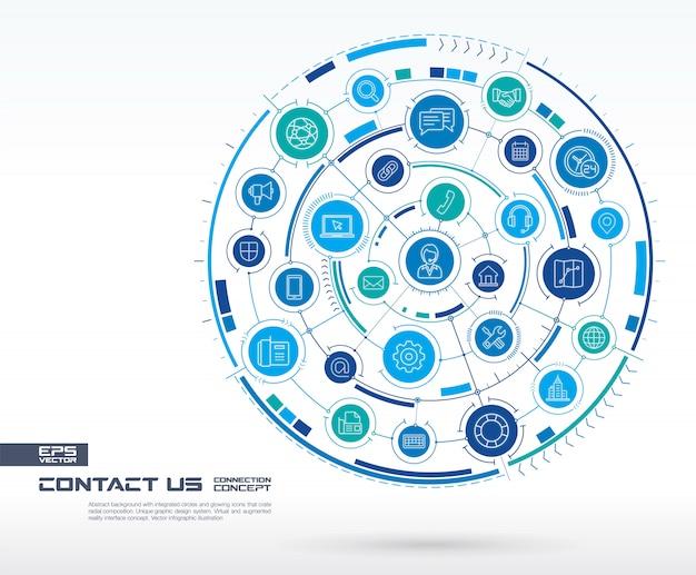 抽象的なお問い合わせ、コールセンターの背景。統合された円、輝く線のアイコンを持つデジタル接続システム。ネットワークシステムグループ、インターフェイスの概念。将来のインフォグラフィックイラスト