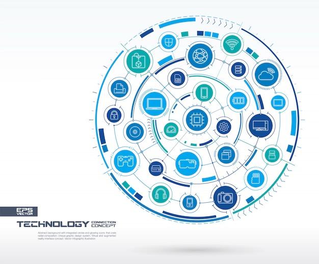 抽象的な技術の背景。デジタル接続システム、統合された円、光る細い線のアイコン。ネットワークシステムグループ、タッチインターフェイスの概念。将来のインフォグラフィックイラスト