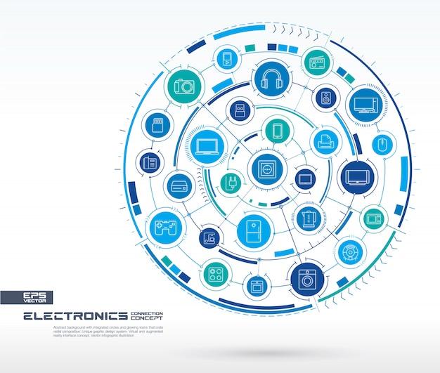 電子技術の抽象的な背景。統合された円、細い線のアイコンを持つデジタル接続システム。ネットワークシステムグループ、家庭用インターフェイスのコンセプト。将来のインフォグラフィックイラスト