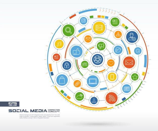 抽象的なソーシャルメディアの背景。デジタル接続システム、統合された円、光る細い線のアイコン。ネットワークシステムグループ、インターフェイスの概念。将来のインフォグラフィックイラスト