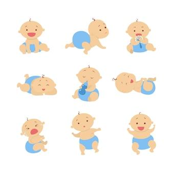 男の子の赤ちゃんセット。青いおむつの美しい赤ちゃん。