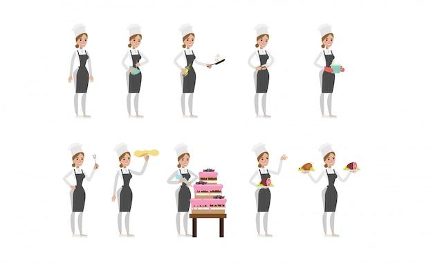 Женский шеф-повар набор. женщина в шляпе и фартук приготовления торта, суп и мясо.