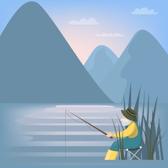 銀行から自然釣りの漁師。