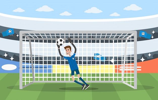 Вратарь на воротах. игра в футбол на стадионе.
