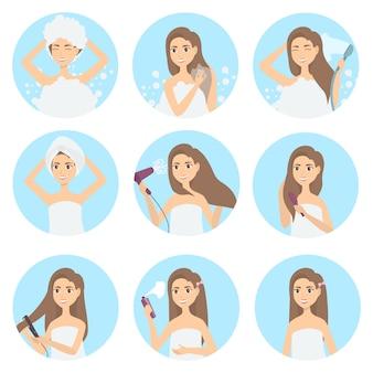 Набор для ухода за волосами. женщина моет, расчесывает и укладывает средства по уходу.