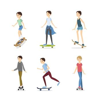 スケートボードの男の子セット。スケートボードとロングボードの男の子のイラスト。