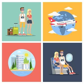 観光フライトセット。飛行機で旅行するカップル。
