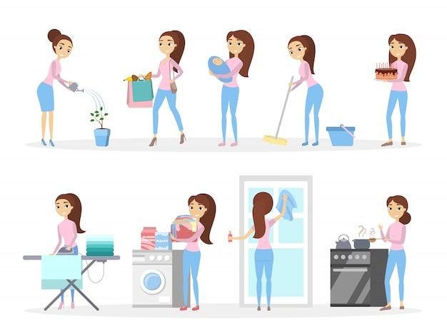 孤立した主婦が料理、掃除などを設定しました。