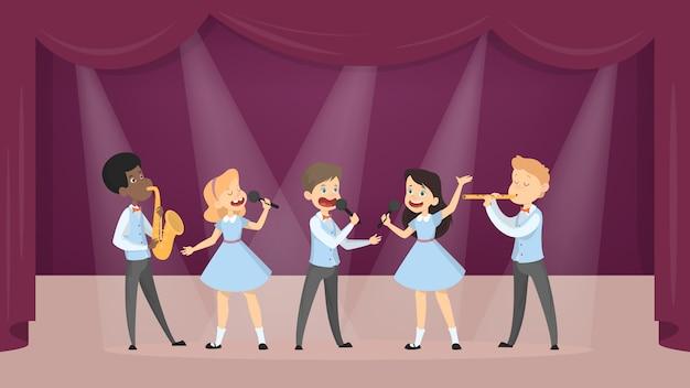歌と楽器演奏を白に設定する子供たち。