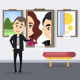 Гид на художественной выставке показывает картины на стене.