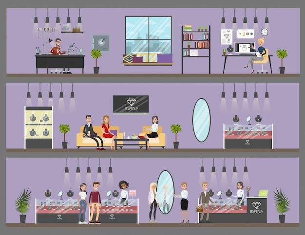 Интерьер ювелирного магазина с мастерской и обслуживанием клиентов.