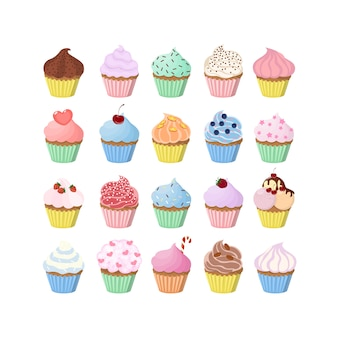 甘いカップケーキは、装飾と詰め物で設定します。