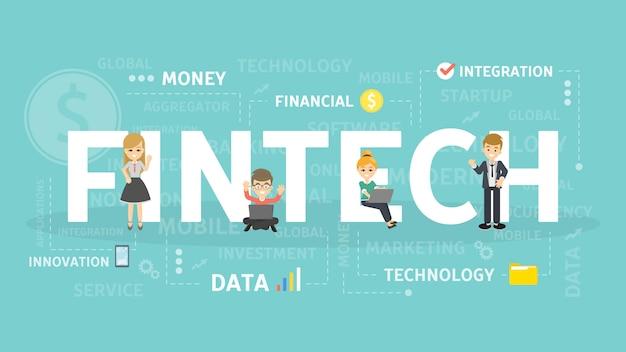 フィンテックの概念図。暗号通貨とブロックチェーンのアイデア。