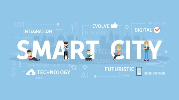 スマートシティ図の概念。ワイヤレステクノロジーのアイデア。