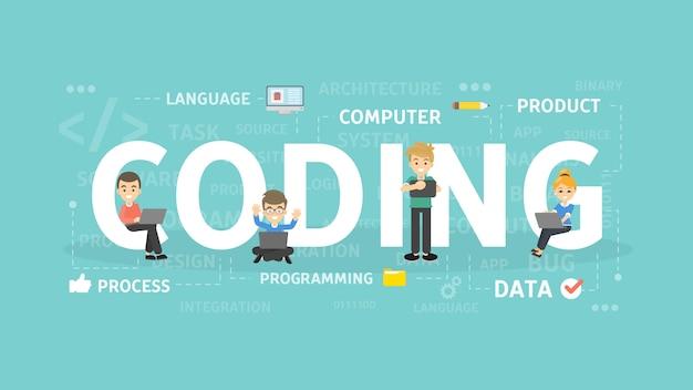 コーディングの概念図。プログラミング、開発、ソフトウェアのアイデア。