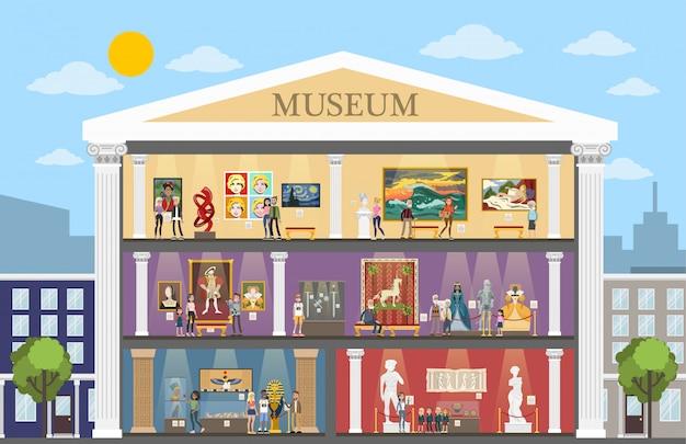 部屋と訪問者がいる博物館都市の建物のインテリア。