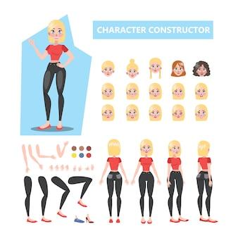 さまざまなビューのアニメーション用の金髪のきれいな女性キャラクターセット