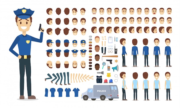 さまざまなビュー、ヘアスタイル、感情、ポーズ、ジェスチャーを備えたアニメーション用の警官キャラクターセット。
