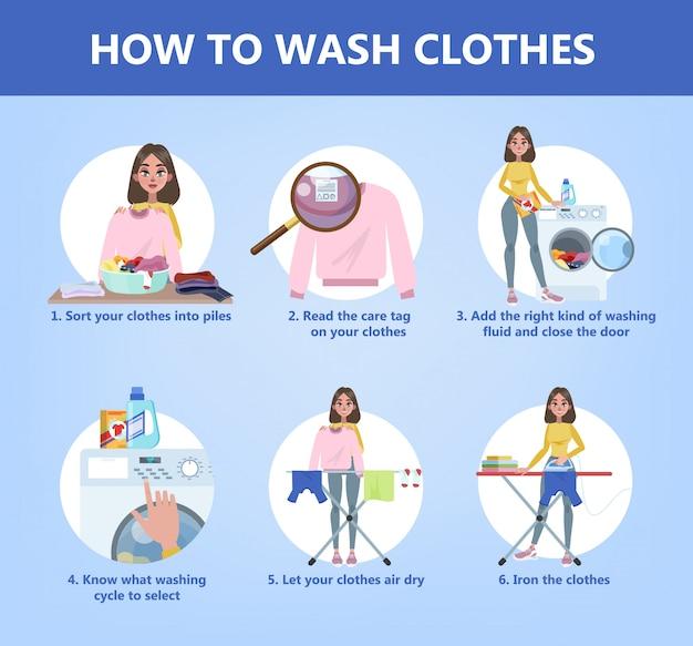 主婦の手洗いのステップバイステップガイド。