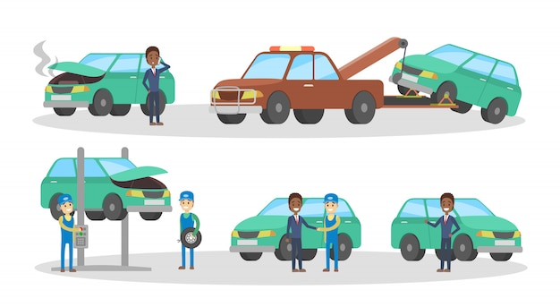 車のサービスセット。整備士は壊れた緑の自動車を修理し、ガレージでタイヤを交換します。レッカー車の自動車。エンジンの診断と修正。図