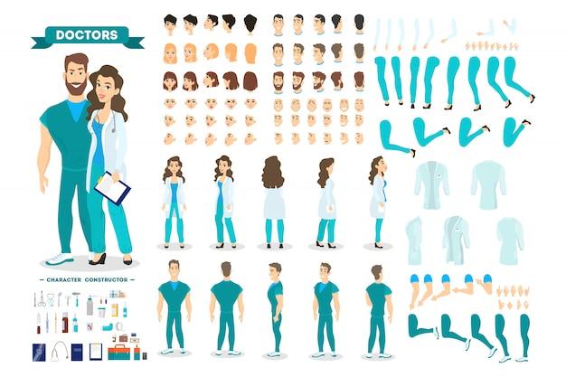 さまざまなビュー、ヘアスタイル、感情、ポーズ、ジェスチャーを備えたアニメーション用のドクターカップルキャラクターセット。医療機器。男性外科医と女性労働者。漫画のスタイルのイラスト