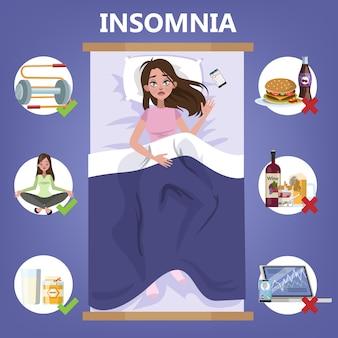 健康的な睡眠のルール。夜の良い睡眠のための就寝時のルーチン。枕の上に横たわる女性。不眠症の人のためのパンフレット。図