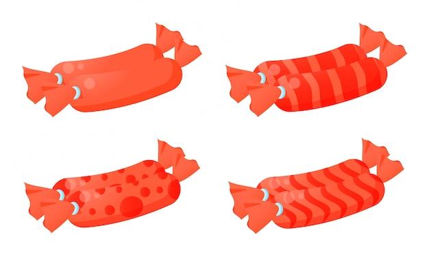 Плоская колбаса иллюстрация с различной оберткой