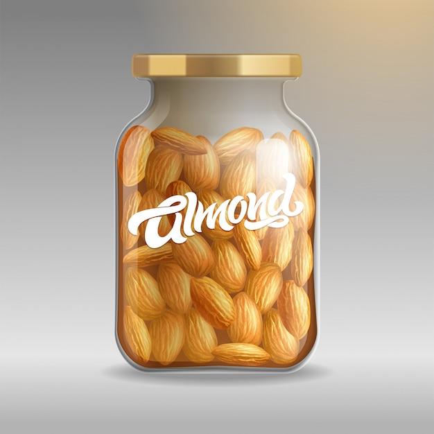 タイプライターアーモンドと背景にアーモンドのクローズアップと現実的なガラスの瓶。包装、ブランド、ラベルのリアルなイラスト。