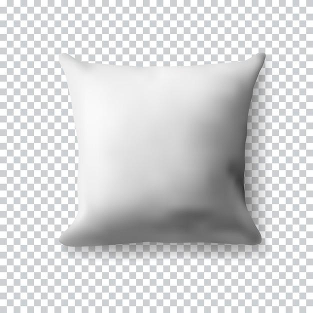 透明な背景の空白の白い正方形の枕。リアルなイラスト。あなたの現実的な空のテンプレート。