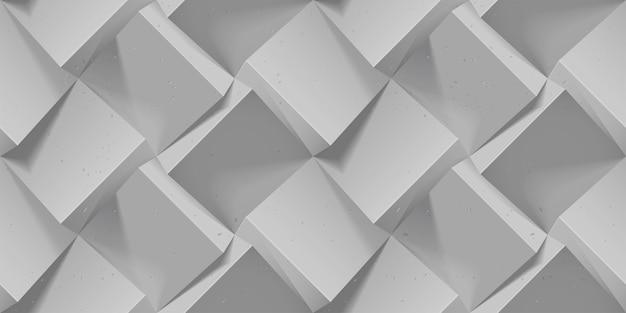 灰色のシームレスな幾何学模様。現実的な体積コンクリートキューブ。壁紙、包装紙、背景用のテンプレート。ボリューム押し出し効果を持つ抽象的なテクスチャ。