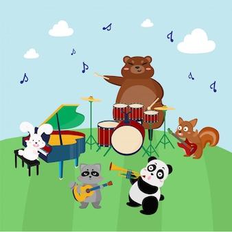 Группа животных играет на музыкальных инструментах