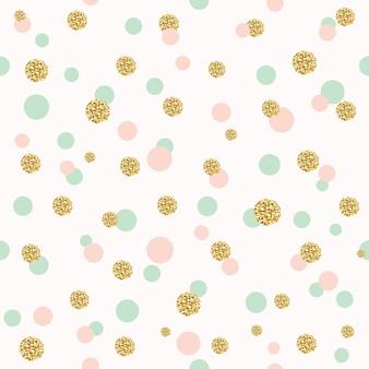 キラキラ色とりどりの水玉模様のシームレスなパターン。