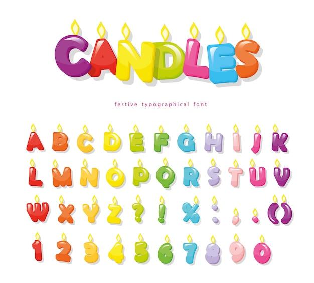 Свечи шрифт для дизайна дня рождения.