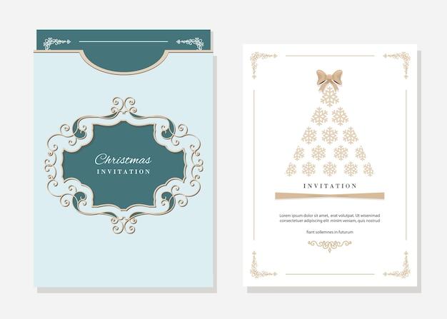 クリスマスカードと封筒のテンプレート。