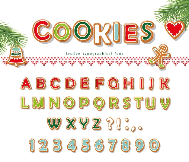 クリスマスジンジャーブレッドクッキーフォント。