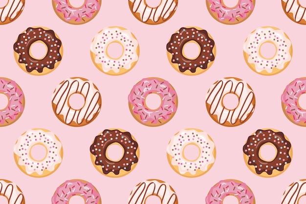 Бесшовный узор с глазурованными пончиками