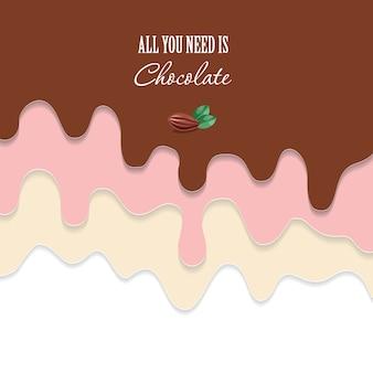 流れるチョコレートの背景。