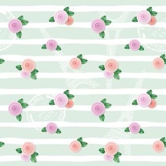 エッフェル塔と花のシームレスなパターン。