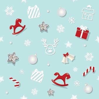クリスマスと新年のシームレスなパターン。