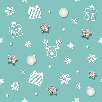 クリスマスと新年シームレスなパターンの背景